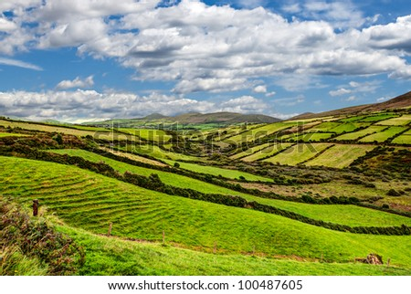 sunny green mountain landscape on Dingle peninsula, Ireland - stock photo
