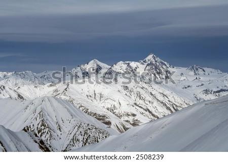 sunny high mountains, Georgia - stock photo