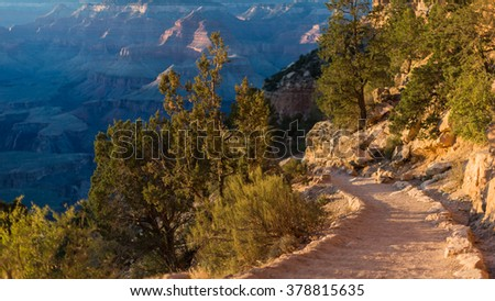 Sunny hiker trails of rocky mountains of Colorado, USA - stock photo