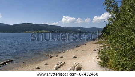 sunny illuminated scenery around the Schluchsee, a lake in the Black Forest (Southern Germany) - stock photo