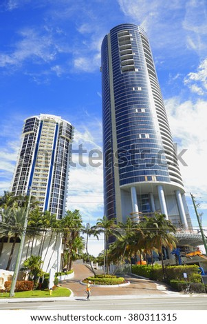 SUNNY ISLES BEACH - FEBRUARY 12: Porsche Design Tower under construction at 18555 Collins Ave will be completed in 2016 at a height of 641 feet February 12, 2016 in Sunny Isles Beach FL, USA - stock photo