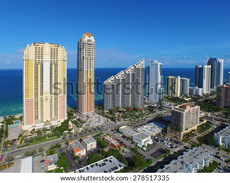 Sunny Isles Beach FL.  Please visit my video gallery for great aerial videos of Sunny Isles and more.  - stock photo