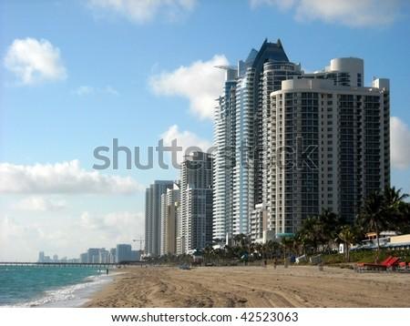 Sunny Isles Beach looking south - stock photo