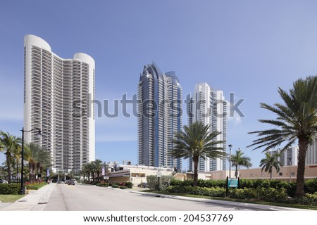 SUNNY ISLES BEACH - MARCH 17: Stock photo of Jade beach and Jade Ocean condominiums. Jade Beach and Ocean were completed in 2009 with a elevation of 549 feet located at 170th Street and Collins Avenue - Miami, Florida - stock photo