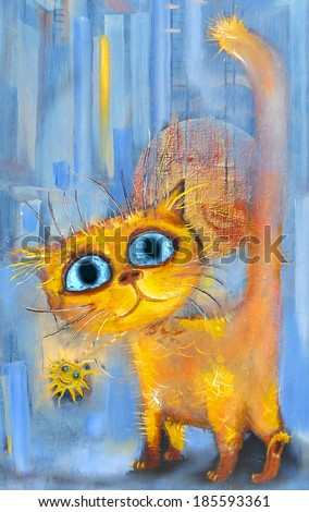 Sunny kitten  - stock photo