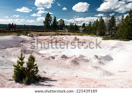 Sunny landscape of a geysers valley. Yellowstone National Park - stock photo