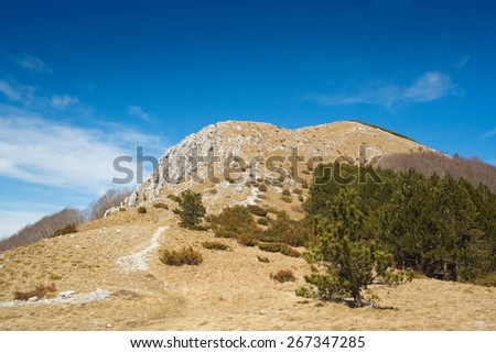 Sunny landscape, View on the Vojak, highest mountain peak in Istria, Croatia - stock photo