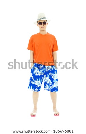 sunny man wearing beach short  and Flip Flops - stock photo