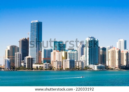 Sunny Miami skyline from Biscayne Bay - stock photo