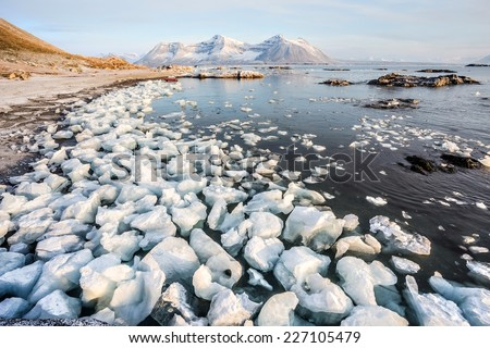 Sunny morning in the Arctic - Spitsbergen, Svalbard - stock photo