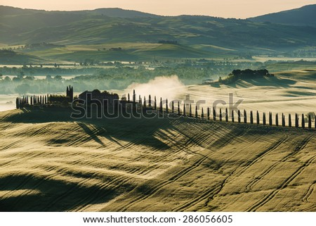 Sunny morning in the Tuscan countryside - stock photo