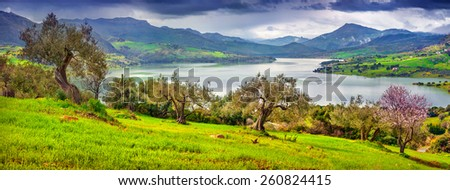 Sunny morning panorama of the lake Rosamarina, Sicily, Italy, Europe. - stock photo