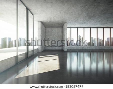 Sunny office interior - stock photo