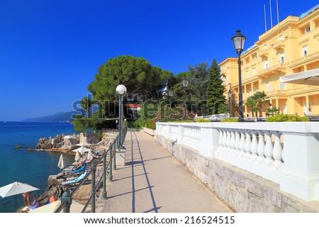 Sunny promenade near the Adriatic sea, Opatija, Croatia - stock photo