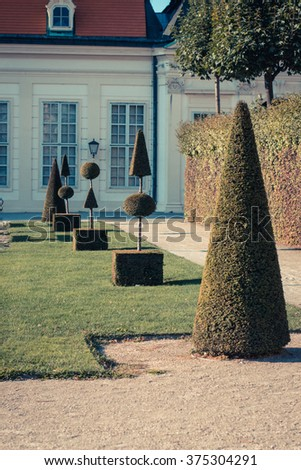 Sunny public park with ornamental plants and trees. Against the background of the old palace - stock photo