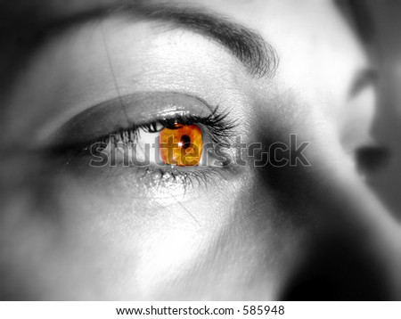 sunny red   eyes of a beautiful woman - stock photo