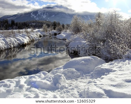 Sunny Riverbank with Whistler mountain in the back and reflections on the water - stock photo