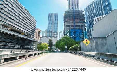 Sunny roads of Miami, Florida, USA. - stock photo