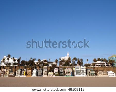 Sunny Santa Monica beach life in southern California. - stock photo