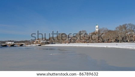 sunny scenery around Cambridge (Massachusetts, USA) at winter time - stock photo