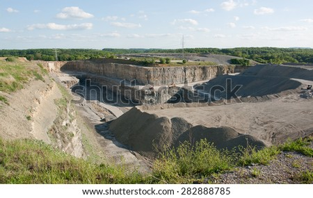 sunny scenery at a gravel quarry in Southern Germany