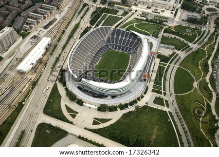 Sunny shot of Chicago's Soldier Field - stock photo