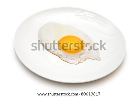 sunny side up egg on white plate isolated on white background - stock photo
