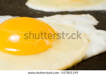 Sunny-side up eggs. - stock photo
