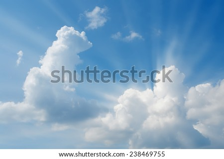 sunny skies, rays of  sun, a series of images - stock photo