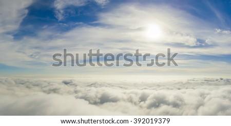 Sunny sky abstract background, beautiful cloudscape, on the heav - stock photo