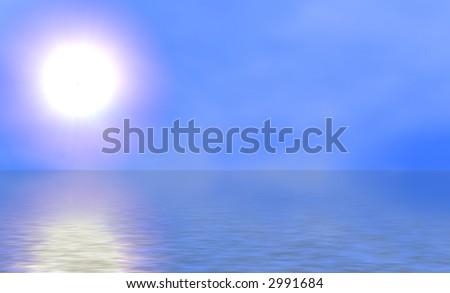 Sunny sky against calm ocean. - stock photo