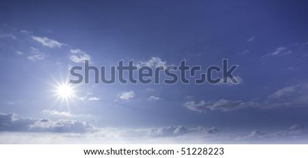 Sunny sky background. - stock photo