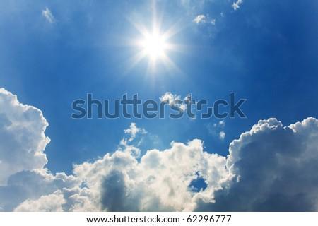 sunny sky background - stock photo