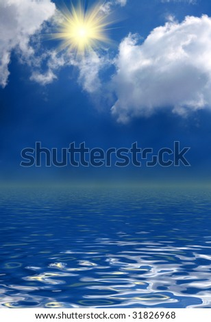 sunny sky background and water
