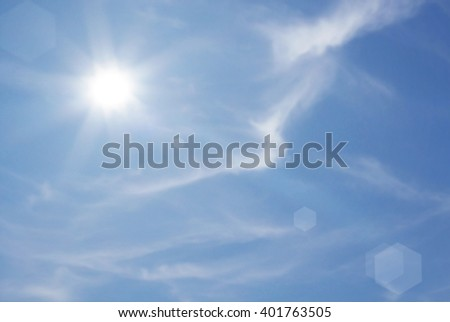 Sunny sky blue with cloud background - stock photo