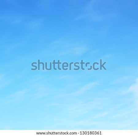 Sunny sky with fluffy clouds - stock photo