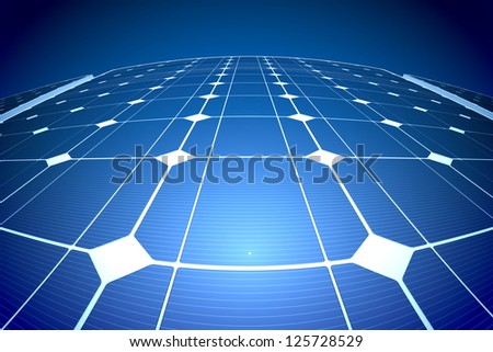 Sunny solar blue shiny panel reflecting the sunlight, closeup - stock photo