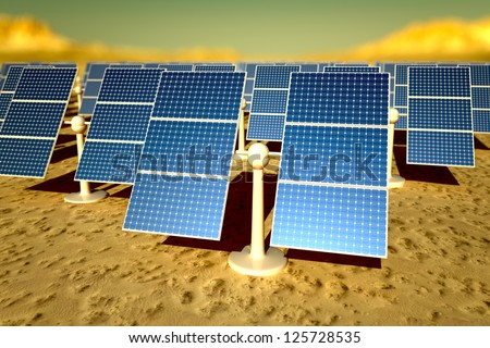 Sunny solar panels in a solar power station under a sky - stock photo