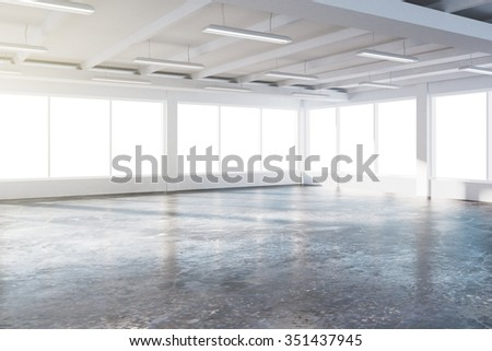 Sunny spacious hangar area with concrete floor and windows in floor 3D Render - stock photo