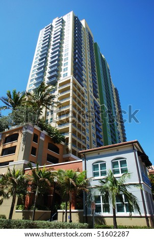 Sunny streets and elegant buildings in Miami South Beach (Florida). - stock photo