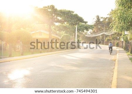 Sunny streets of a small rural Caribbean town of Omoa in Honduras, Central America