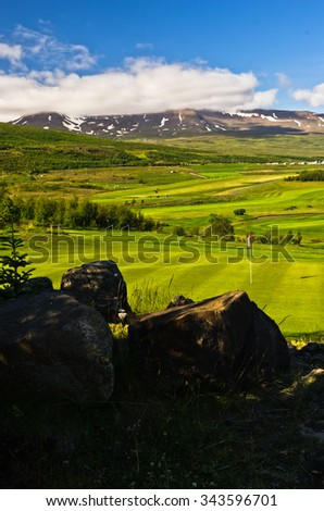 Sunny summer day at golf course at Akureyri, north Iceland - stock photo