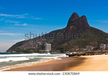 Sunny Summer Day in Ipanema Beach, Rio de Janeiro, Brazil - stock photo