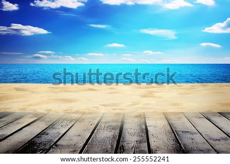 sunny summer day on the beach blur - stock photo