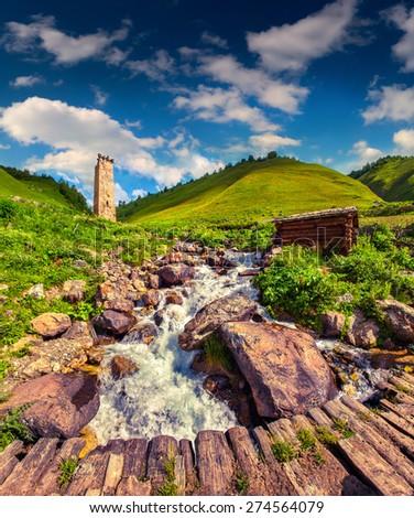 Sunny summer morning in village Adishi. Caucasus mountain, Georgia, Upper Svaneti, Europe. - stock photo