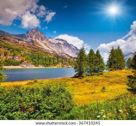 Sunny summer scene on the Silsersee lake. District of Maloja, Swiss canton of Graubunden, Switzerland, Alps, Europe.  - stock photo
