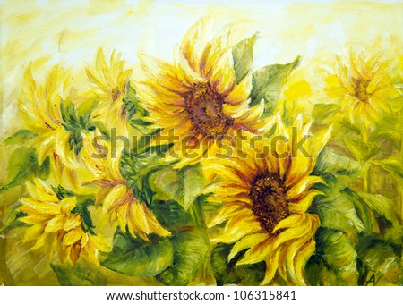 Sunny Sunflowers,  oil painting on canvas - stock photo