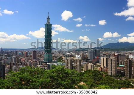 sunny Taipei scene with taipei101 - stock photo