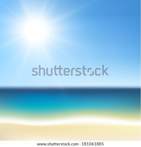 Sunny tropical beach illustration - raster version - stock photo
