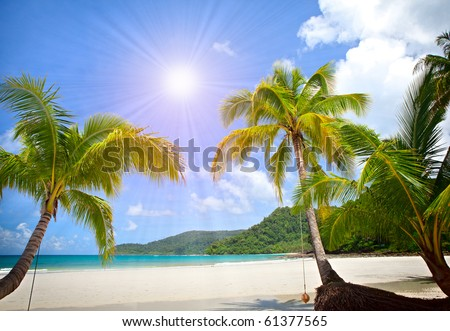 Sunny tropical beach in the Islands - stock photo